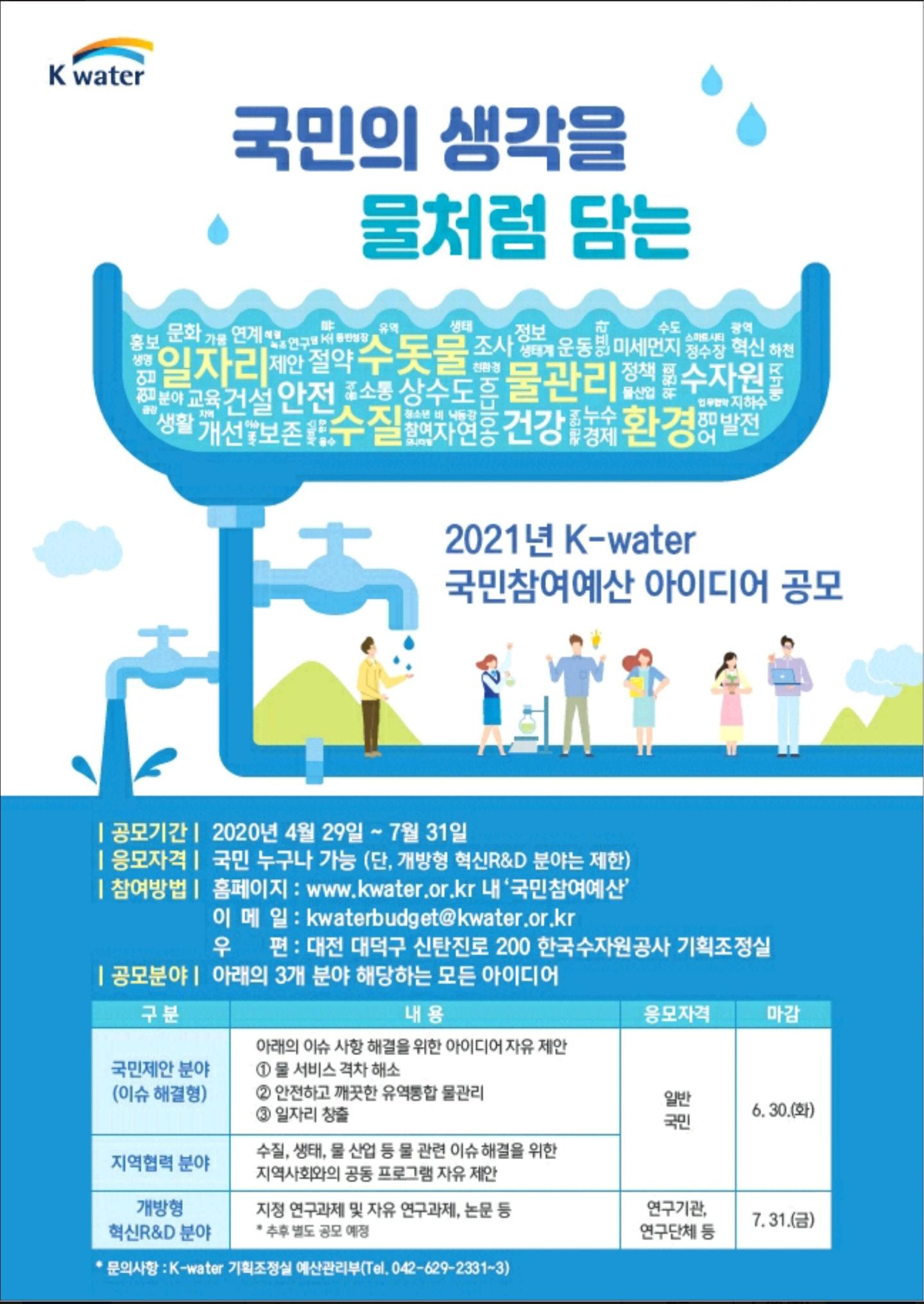 한국수자원공사, '국민참여예산제' 시행 국가 물관리에 대한 공감대 확산과 국민 주도의 물관리 혁신 기대